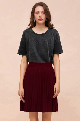 A-line Knitted Knee Length Pleated Skirt_137