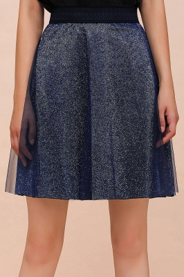 Sparkly Knee Length Metallic A-line Skirt_16