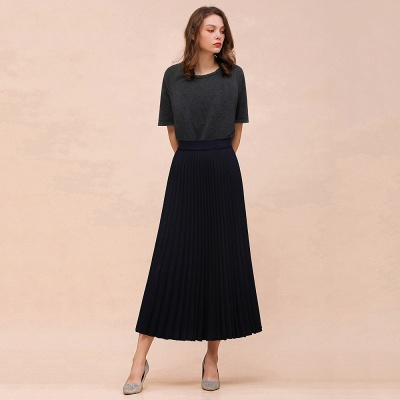 Knitted A-line Tea Length Pleated Skirt_15