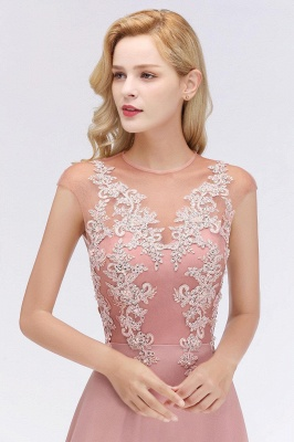 Cheap A-line Jewel Sleeveless Chiffon Tulle Lace Bridesmaid Dress in Stock_15