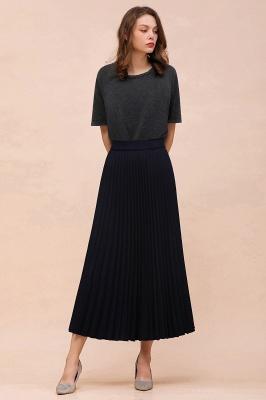 Knitted A-line Tea Length Pleated Skirt_25