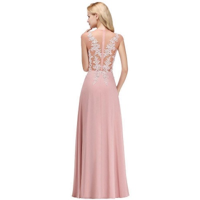 Cheap A-line Jewel Sleeveless Chiffon Tulle Lace Bridesmaid Dress in Stock_12