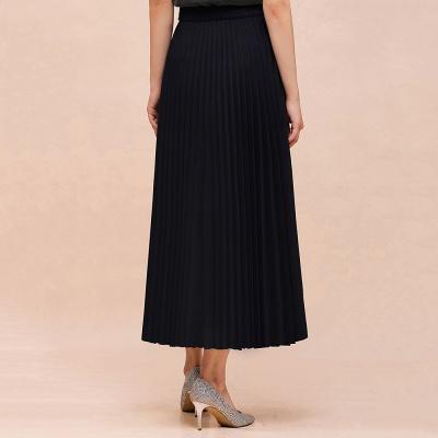 Knitted A-line Tea Length Pleated Skirt_5