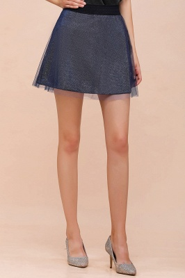 Sparkly A-line Above Knee Metallic Skirt_33