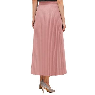 Knitted A-line Tea Length Pleated Skirt_2