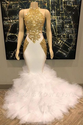 Sleeveless Golden Appliques Mesh Button Sexy Mermaid Prom Dresses_2