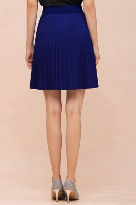 A-line Knitted Knee Length Pleated Skirt_88