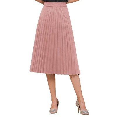 A-line Knitted Short Pleated Skirt_33
