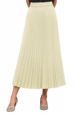 Knitted A-line Tea Length Pleated Skirt_34