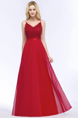 Spaghetti Straps V-Neck Chiffon Lace Evening Dress On Sale_11