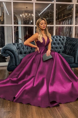 Charming Straps V-neck Illusion-back Sash Ruffles Floor Length A-line Prom Dresses With Back Bow_1