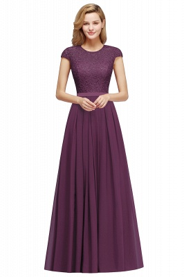 Cap Sleeves Floor Length Jewel Lace Chiffon Bridesmaid Dress | Cheap Prom Dresses_1