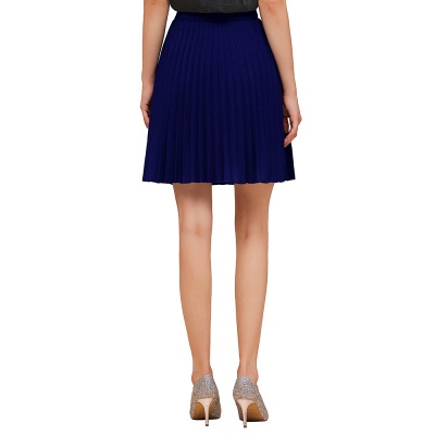 A-line Knitted Knee Length Pleated Skirt_36