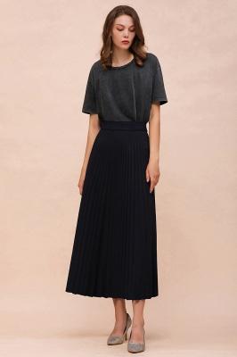 Knitted A-line Tea Length Pleated Skirt_20