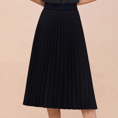 A-line Knitted Short Pleated Skirt_3