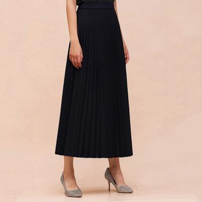 Knitted A-line Tea Length Pleated Skirt_19