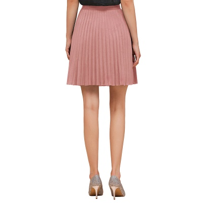 A-line Knitted Knee Length Pleated Skirt_35