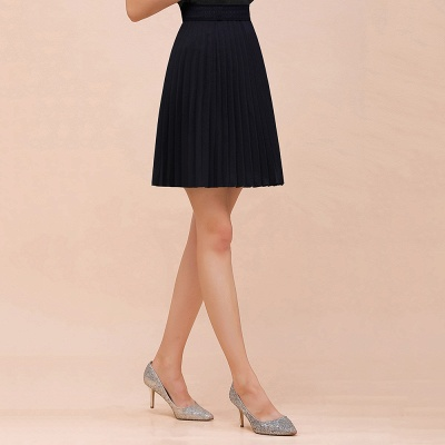 A-line Knitted Knee Length Pleated Skirt_33