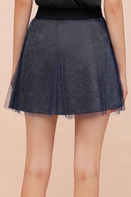 Sparkly A-line Above Knee Metallic Skirt_26