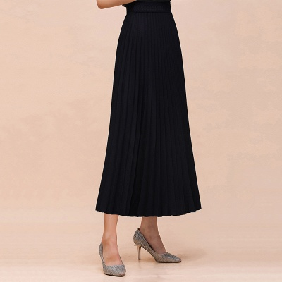 Knitted A-line Tea Length Pleated Skirt_6
