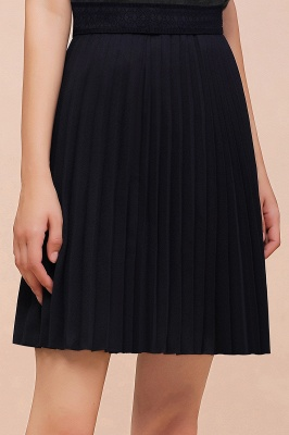 A-line Knitted Knee Length Pleated Skirt_121