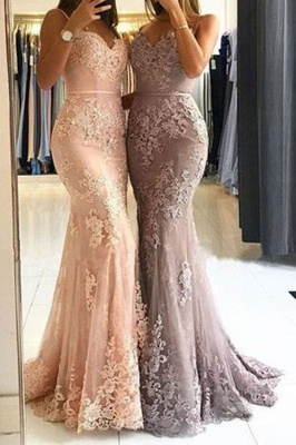 Lace Appliques Sheath Prom Dresses | Long Spaghetti-Straps Evening Gowns_2