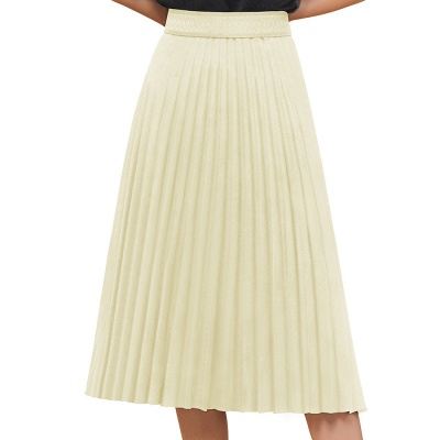 A-line Knitted Short Pleated Skirt_29