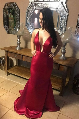Burgundy Sexy Halter Sleeveless V-neck Backless Mermaid Prom Dresses | Ruffles Evening Dresses_1