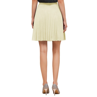 A-line Knitted Knee Length Pleated Skirt_41