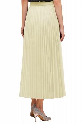 Knitted A-line Tea Length Pleated Skirt_35