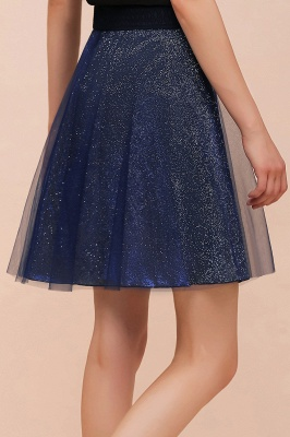 Sparkly Knee Length Metallic A-line Skirt_17
