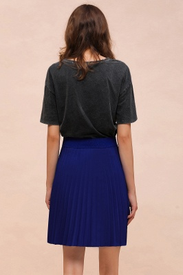 A-line Knitted Knee Length Pleated Skirt_164