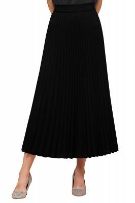 Knitted A-line Tea Length Pleated Skirt_36