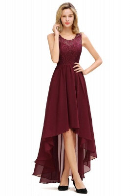 Cheap A-line Hi-lo Chiffon Lace Bridesmaid Dress in Stock_3