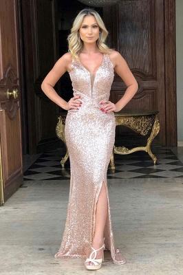 Sparkling Straps V-neck Sequin Side-slit Floor Length Mermaid Prom Dresses | Backless Evening Dresses_1