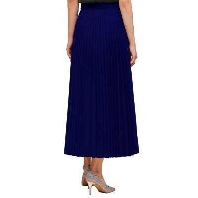 Knitted A-line Tea Length Pleated Skirt_10