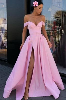 Sexy Pink Off-The-Shoulder Evening Dresses 2019   A-Line Front Split Long Formal Dresses Online_2