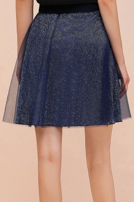 Sparkly Knee Length Metallic A-line Skirt_5