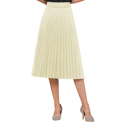 A-line Knitted Short Pleated Skirt_37