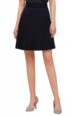 A-line Knitted Knee Length Pleated Skirt_92