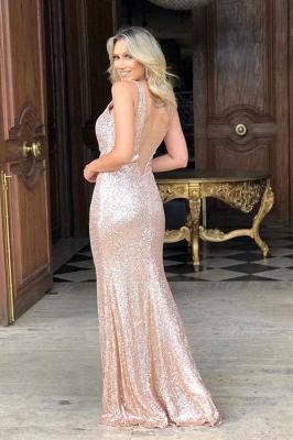 Sparkling Straps V-neck Sequin Side-slit Floor Length Mermaid Prom Dresses | Backless Evening Dresses_2