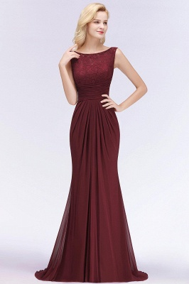 Mermaid Burgundy Chiffon Ruffles Evening Dress On Sale_12