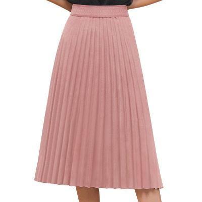 A-line Knitted Short Pleated Skirt_1