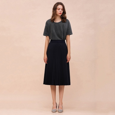 A-line Knitted Short Pleated Skirt_6