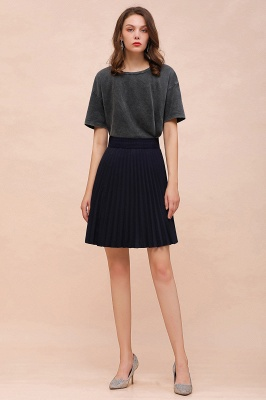 A-line Knitted Knee Length Pleated Skirt_91