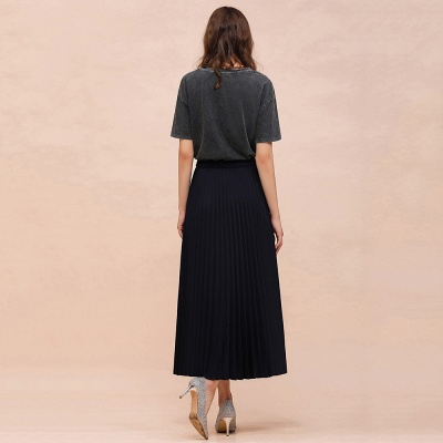 Knitted A-line Tea Length Pleated Skirt_16
