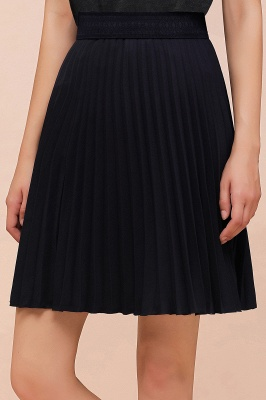 A-line Knitted Knee Length Pleated Skirt_117