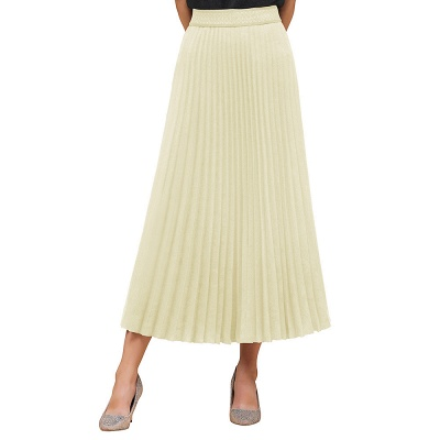 Knitted A-line Tea Length Pleated Skirt_7
