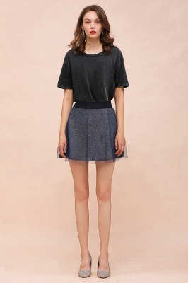 Sparkly A-line Above Knee Metallic Skirt_23