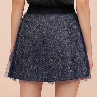 Sparkly A-line Above Knee Metallic Skirt_9